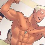Super Health Club employee Chris shows his body