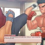 The boss and Kouji fight in the dojo
