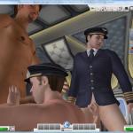 The pilot gives a blowjob and handjob