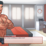 Talking to Super Health Club Kouji in his room