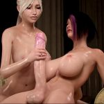 Tara gives Sayako a handjob
