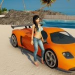 3DXChat girl by one of the sports cars