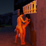 Sex against the wall in 3DXChat