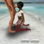 Virtual Hottie gives a blowjob in a school skirt