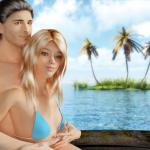 Blonde Kari in a boat