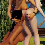 3DXChat sex positions 3 lesbians standing